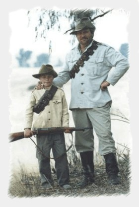 Father and son in Anglo Boerwar dress during a commemoration shoot